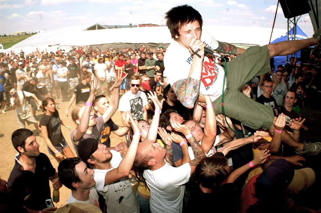 Straight edge singer diving into crowd