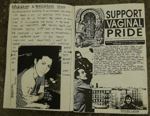 Picture of a black and white riot grrrl zine that states SUPPORT VAGINA PRIDE with pictures of women amongst the two pages of handwriten text as well as typed text.