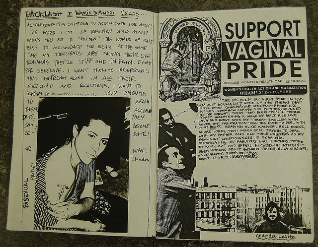 open pages from a riot grrrl zine titled Backlash to Womin's Voices and Support Vaginal Pride