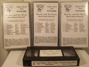 A videocassette labeled 'Helpers Above Tulsa presents: Beauty and the Beast Music Videos'