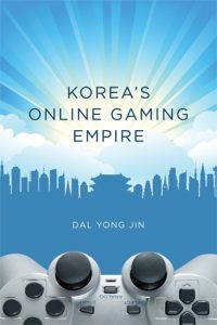 """The text says """"Korea's Online Gaming Empire,"""" by Dal Yong Jin. A silver controller is at the bottom, while a city is outlined in blue, with a lighter blue backdrop."""