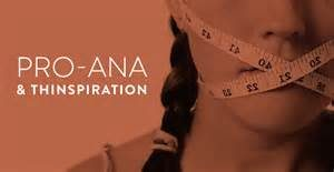 "Woman with measuring tape covering her mouth, with the words ""Pro-ana  Thinspiration"""