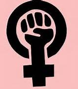 The symbol for femininity with a raised fist inside it