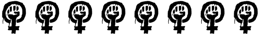 Riot Grrrl logo black image of the sign for female with a fist in the middle on a white background.