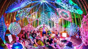 Photo depicts a group of ravers in the middle of trees. They are in sitting in between a light show with different colors being displayed.