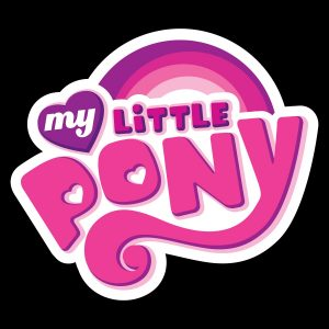"Image of the words ""My Little Pony"" in pink letters on a black background"