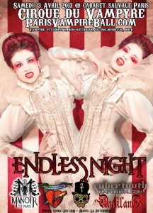 "Official poster for the 2013 ""Endless Night"" festival. Image includes two women with bright red hair and makeup and white costumes and fangs."