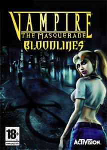 """The cover of the video game """"Vampire: The Masquerade."""" Features a vampire girl and an Ankh Cross symbol."""