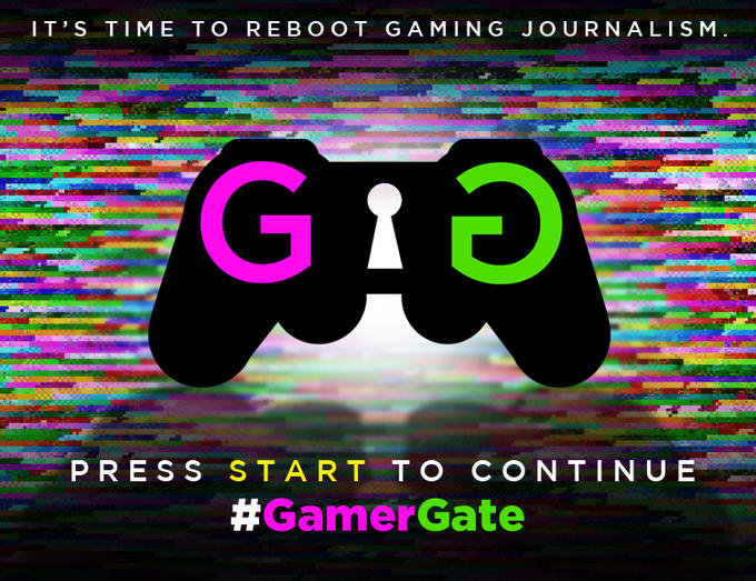 """A black controller with a pink and green G on both sides of the controller. In the center is a keyhole. The text above the controller says """"It's time to reboot gaming journalism."""" The text below the controller says """"Press start to continue #GamerGate."""""""
