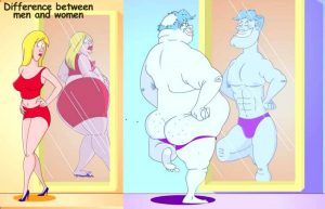 A cartoon about how males and females view themselves differently