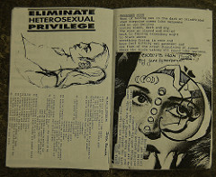 A picture of a black and white printed Riot Grrrl zine. The left page is a picture of a women laying down with the words ELIMINATE HETEROSEXUAL PRIVILEGE while the left page is mainly a zoomed in picture of a women's face with a half moon on the left side of her face.
