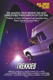 Trekkies movie poster, depicting a person in a van making the Vulcan salute and flying into space.