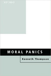A picture of the book Moral Panics with the title in light blue writing on a light blue background.