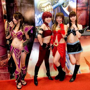 World Of Warcraft cosplayers posing in their characters' oufits