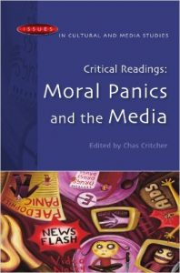 A picture of the book cover Moral Panics and the Media. The cover depicts people looking worried with the words AIDS, NEWS FLASH, and PEDOPHILE PANIC