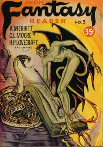 """Front cover of the comic book """"Fantasy Reader,"""" depicting fantasy creatures. A man with wings and a devil tail is staring at a hissing snake."""