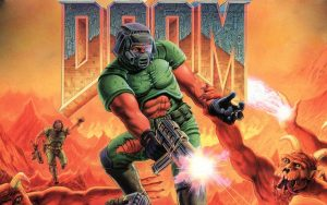 """Image of a gun-wielding man in a violent struggle with a demon from the video game """"Doom."""""""