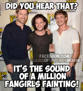 "This image shows three male actors of Game of Thrones posing for a celebrity picture next to one another with their arms behind each other's backs. The text at the top of the page, above their heads, reads, ""Did you hear that?"", and at the bottom of the page reads, ""It's the sound of a million fangirls fainting""."
