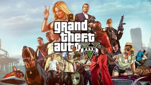 Image of many characters from Grand Theft Auto V holding guns and other weapons and being handcuffed.
