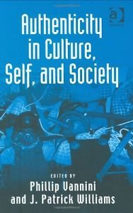 Book cover of Authenticity in Culture, Self and Society. A blue background.