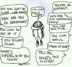 A girl sitting curled up with her head in her arms using stigma management instead of talking about her depression