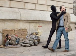 A man turning a blind eye to the homeless