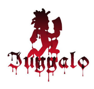 Juggalo Hatchet-man symbol with the word 'Juggalo' underneath written in a blood-like red.