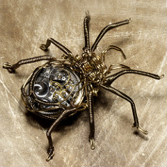 Spider made of gears and wires