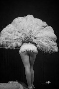 Burlesque performer facing backwards, feather fan