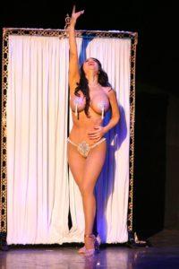 Burlesque performer Posing hand above head