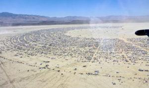Ariel view of the arid land where Burning Man Festival takes place in Black Rock Desert, NV