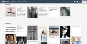The screenshot of the archive shows various pictures of skinny bodies, sad images, or text posts that encourage a maintenance of a lifestyle to stay very skinny or encourage starvation and eating disorders in text on the images or as text-only posts.