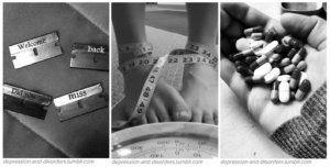 """Three images, the one on the left with four razor blades saying """"Welcome back, did you miss me?,"""" the one in the middle showing feet on a scale with a measuring tape wrapped around the ankles, and the one on the right is a hand full of pills."""