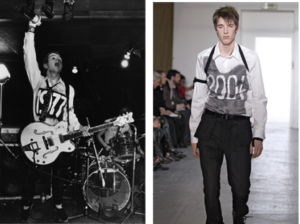 "Joe Strummer (on left) in 1977 shown under the museum's label ""D.I.Y. Graffiti and Agitprop"". On right a Helmut Lang piece for Fall/Winter 2003/2004"