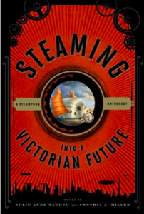 Red book cover, lined with black; cogs on either top corner, and a generic city skyline along the bottom . The title (Cover of 'Steaming into a Victorian Future: A Steampunk Anthology') is curved around  a central circular image of a metal object with an orange flag.