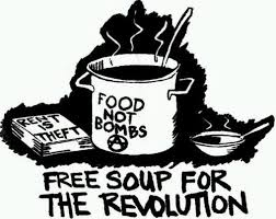 """folk punk print with """"food not bombs"""" and """"rent is theft"""""""
