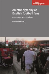 The cover to Geoff Pearson's book displays a scene of hooligans on the sidewalk heading towards the stadium