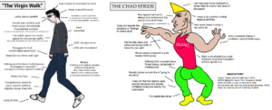 A meme comparing incels and Chads based on their walking styles