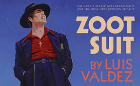 """Cropped colored poster for the play """"Zoot Suit"""" by Luis Valdez with """"el Pachuco"""" staring upward with his hands in his trousers"""