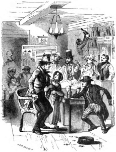 Illustration of people in a crowded bar