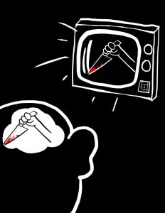 Cartoon of bloody knife on screen, person having similar thoughts