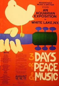 Colored poster for Woodstock music festival with a bird resting on the neck of a guitar. Large letters read 3 days of Peace & Music.