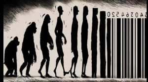 The process of commodification depicted by a cartoon showing the stages of evolution from a primate to a man to a barcode.
