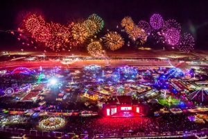 This aerial image shows the lights and fireworks of the biggest music festival in North America: Electric Daisy Carnival: Las Vegas 2016