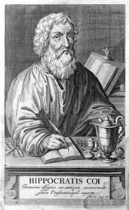 Pencil drawing of Greek physician Hippocrates writing at his desk