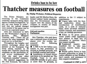 A news clipping in black and white describing Margaret Thatchers views against hooliganism in England