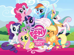 Photo of 8 of the pony characters in My Little Pony: Friendship is Magic smiling surrounded by the title of the show in pink text