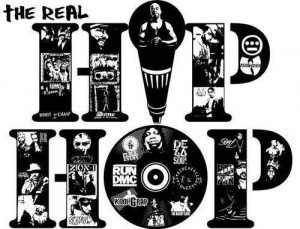 "The image says ""the real hip hop"" and the letters of ""hip hop"" are filled with images of valued hip hop artists or groups like Wu Tang Clan, RUN DMC, and Notorious B.I.G. The ""i"" in ""hip hop"" is a microphone shape, and the ""o"" is a record or CD shape."