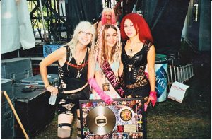 Four Juggalette participants in the 2015 Miss Juggalette Pageant including the winner in the center.