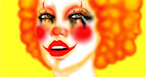"Cartoon drawing of a female Juggalette who is ""down with the clown."""